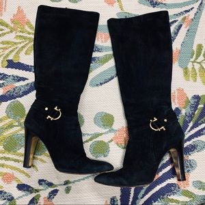Tory Burch Black Suede Kennedy Tall Boots